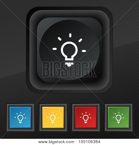 Light Lamp, Idea  Icon Symbol. Set Of Five Colorful, Stylish Buttons On Black Texture For Your Desig