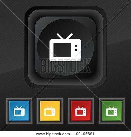 Retro Tv Mode  Icon Symbol. Set Of Five Colorful, Stylish Buttons On Black Texture For Your Design.