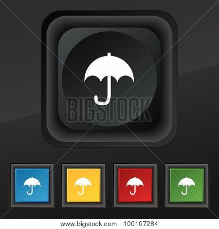Umbrella  Icon Symbol. Set Of Five Colorful, Stylish Buttons On Black Texture For Your Design. Vecto