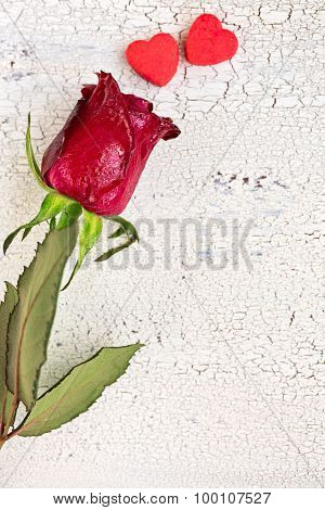 Single Red Rose With Two Small Red Cookies In Shape Of Heart, On Ols White Wooden Background, Top Vi