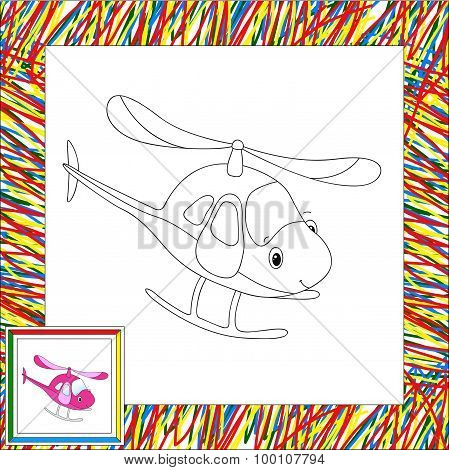 Funny Cartoon Helicopter. Coloring Book For Children