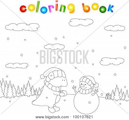 Cute Chubby Dragon Sculpts Snowman In A Snowy Forest. Christmas Coloring For Kids