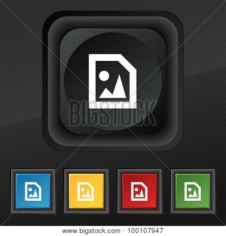 File Jpg  Icon Symbol. Set Of Five Colorful, Stylish Buttons On Black Texture For Your Design. Vecto