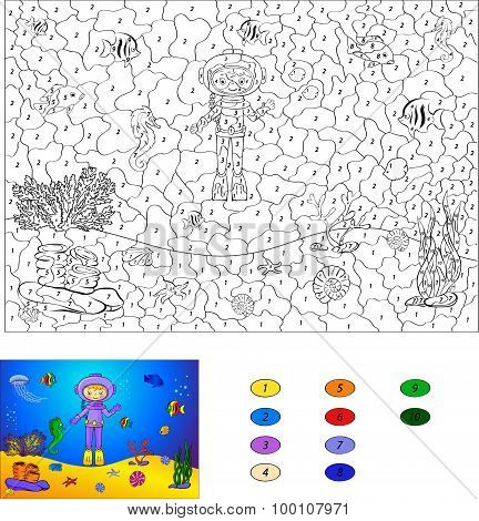 Color By Number Educational Game For Kids. Diver On The Ocean Floor. Vector Illustration