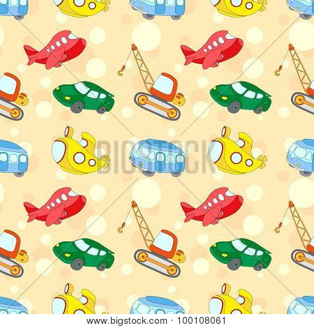 Seamless Texture With Transport: Submarine, Car, Bus, Aircraft And Crane. Vector Ilustration