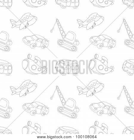 Seamless Texture With Black-white Transport: Submarine, Car, Bus, Aircraft And Crane. Vector Illustr