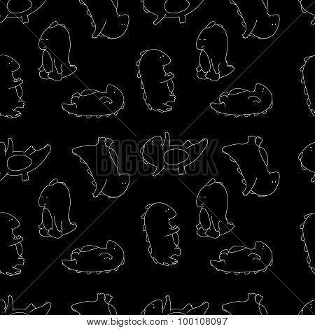 Seamless Texture With Plump Dragon Doing Gymnastic Exercises And Yoga Asanas. Vector Background