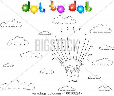 Colorful Balloon In The Sky. Connect Dots And Get Image. Educational Game For Kids