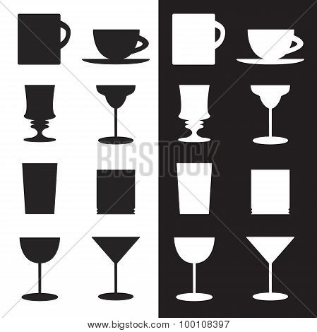 Set Of Goblets, Cups, Glass Silhouettes