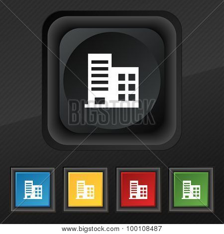 High-rise Commercial Buildings And Residential Apartments  Icon Symbol. Set Of Five Colorful, Stylis