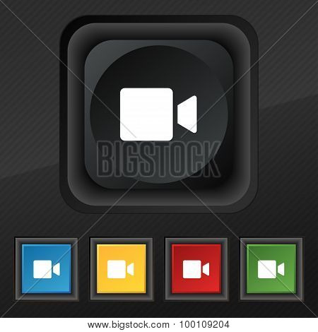 Video Camera  Icon Symbol. Set Of Five Colorful, Stylish Buttons On Black Texture For Your Design. V