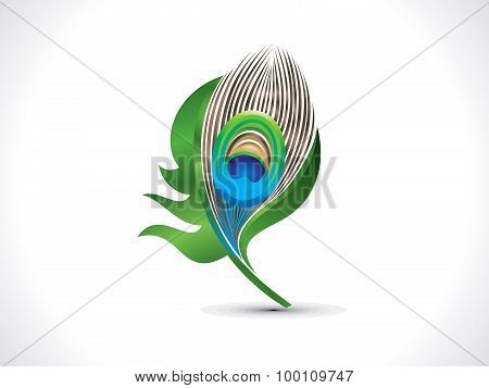Abstract Artistic Green Peacock Feather
