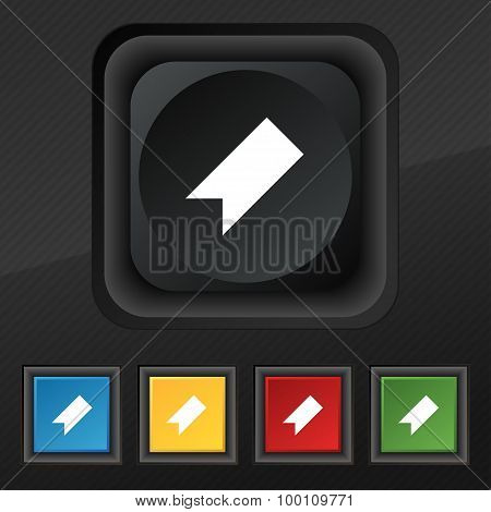 Bookmark  Icon Symbol. Set Of Five Colorful, Stylish Buttons On Black Texture For Your Design. Vecto