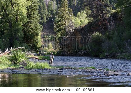 Fly fisherman in Colorado River