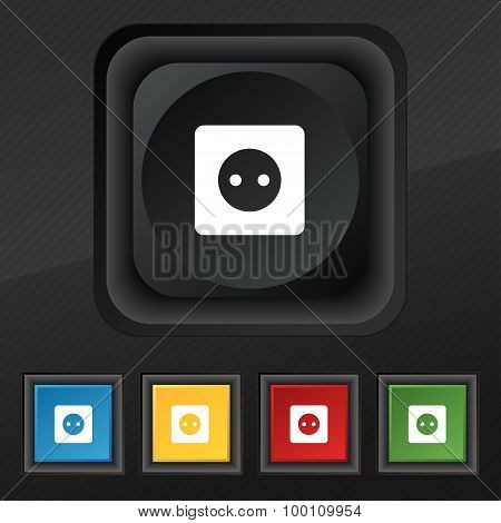 Electric Plug, Power Energy  Icon Symbol. Set Of Five Colorful, Stylish Buttons On Black Texture For