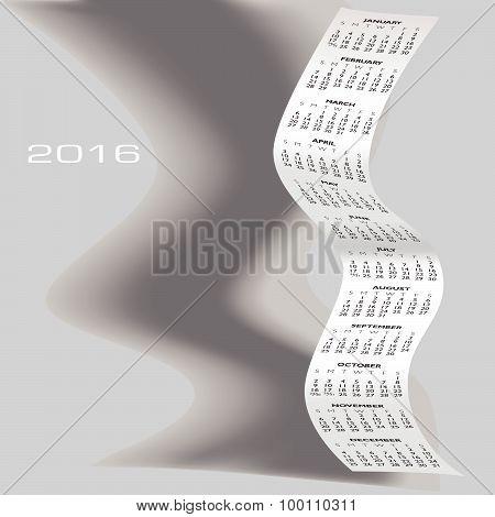 2016 Wavy Calendar With Shadow