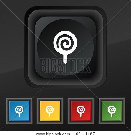 Candy  Icon Symbol. Set Of Five Colorful, Stylish Buttons On Black Texture For Your Design. Vector