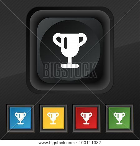Winner Cup, Awarding Of Winners, Trophy  Icon Symbol. Set Of Five Colorful, Stylish Buttons On Black