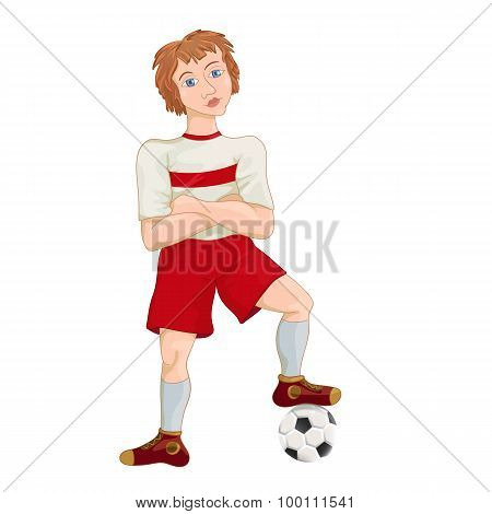 Young soccer player cartoon character vector illustration