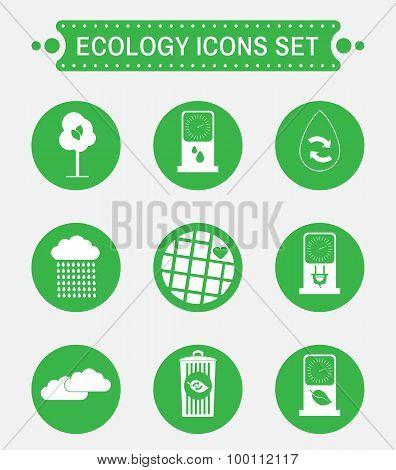 Ecology Symbols Vector Icons Set