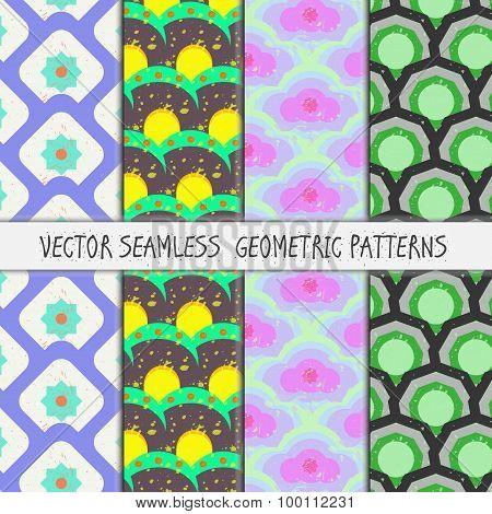 Grunge colorful geometric seamless patterns set