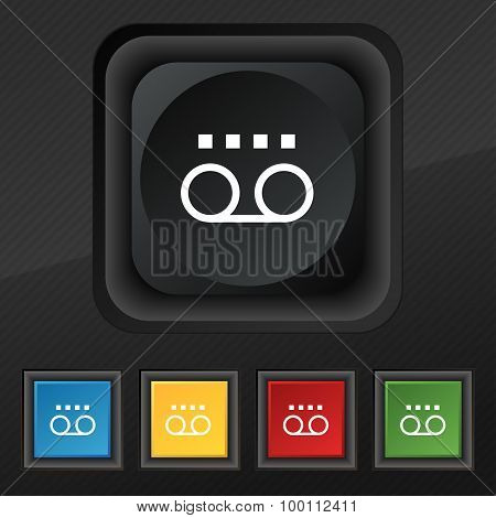Audio Cassette Icon Symbol. Set Of Five Colorful, Stylish Buttons On Black Texture For Your Design.