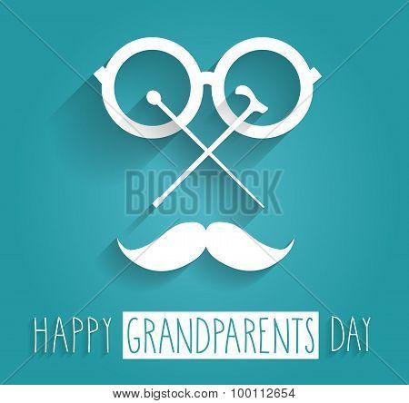 Grandparents Day blue poster. Handwritten text