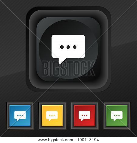 Cloud Of Thoughts Icon Symbol. Set Of Five Colorful, Stylish Buttons On Black Texture For Your Desig
