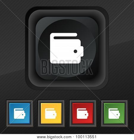 Purse Icon Symbol. Set Of Five Colorful, Stylish Buttons On Black Texture For Your Design. Vector