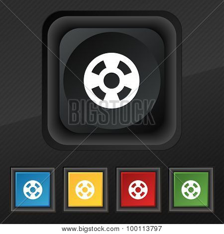 Film Icon Symbol. Set Of Five Colorful, Stylish Buttons On Black Texture For Your Design. Vector