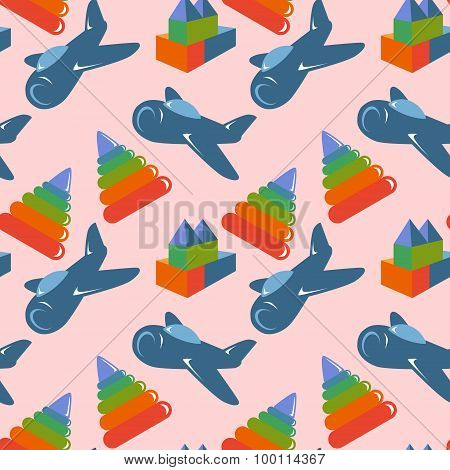 Retro children toys seamless pattern