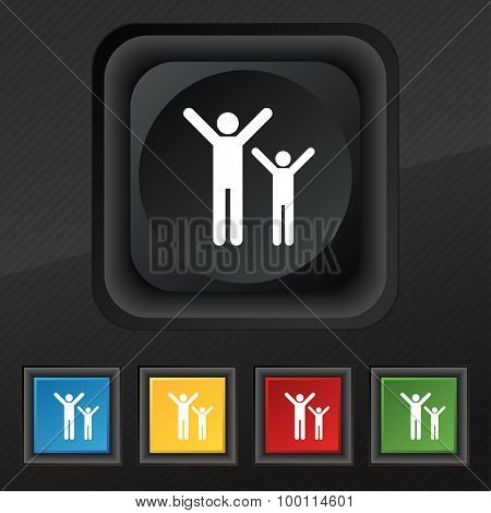 Happy Family Icon Symbol. Set Of Five Colorful, Stylish Buttons On Black Texture For Your Design. Ve