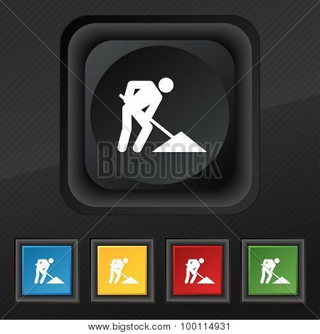 Repair Of Road, Construction Work Icon Symbol. Set Of Five Colorful, Stylish Buttons On Black Textur