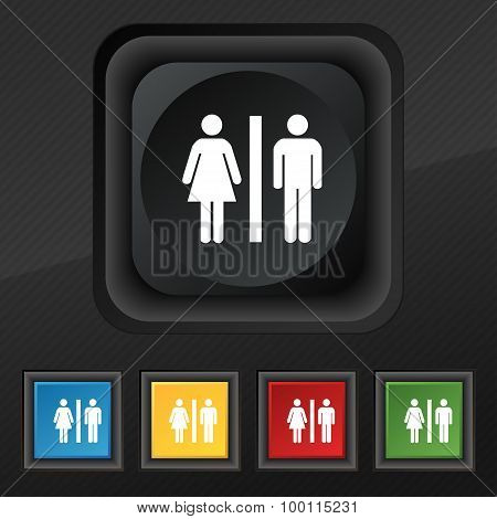 Silhouette Of A Man And A Woman Icon Symbol. Set Of Five Colorful, Stylish Buttons On Black Texture