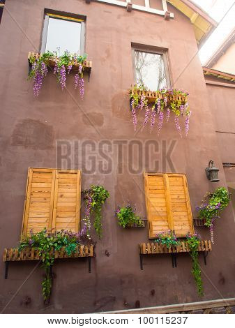 Flowers Decoration On Building