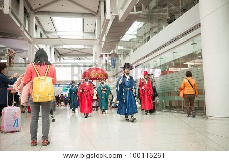 Traveler Exited With Traditional Welcome Parade.