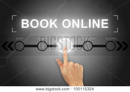 Hand Clicking Book Online Button On A Screen Interface