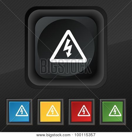 Voltage Icon Symbol. Set Of Five Colorful, Stylish Buttons On Black Texture For Your Design. Vector