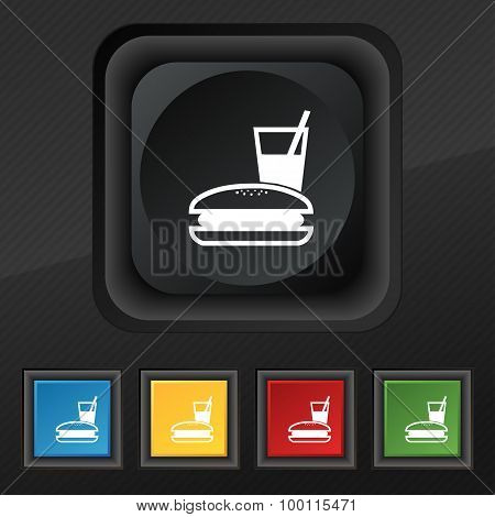 Lunch Box Icon Symbol. Set Of Five Colorful, Stylish Buttons On Black Texture For Your Design. Vecto