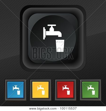 Faucet, Glass, Water Icon Symbol. Set Of Five Colorful, Stylish Buttons On Black Texture For Your De