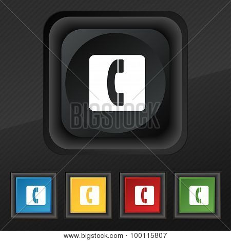 Handset Icon Symbol. Set Of Five Colorful, Stylish Buttons On Black Texture For Your Design. Vector