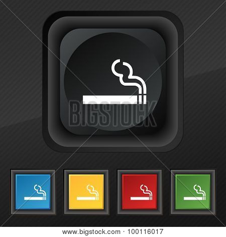 Cigarette Smoke Icon Symbol. Set Of Five Colorful, Stylish Buttons On Black Texture For Your Design.