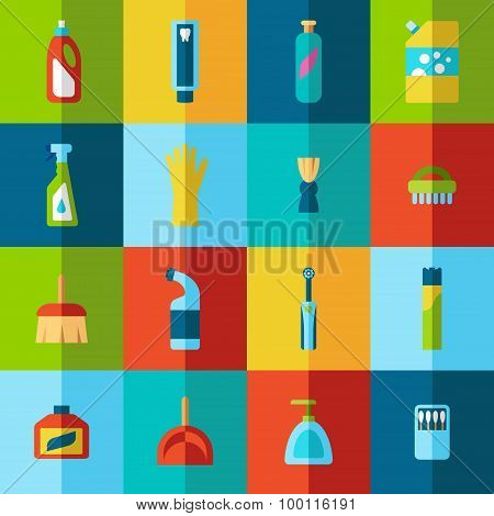 Household Chemicals And Cleaning Supplies Bottles Vector Flat Half Icons