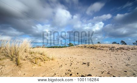 Moving Cloudy Sky At A Sandy Dessert