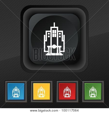 Skyscraper Icon Symbol. Set Of Five Colorful, Stylish Buttons On Black Texture For Your Design. Vect