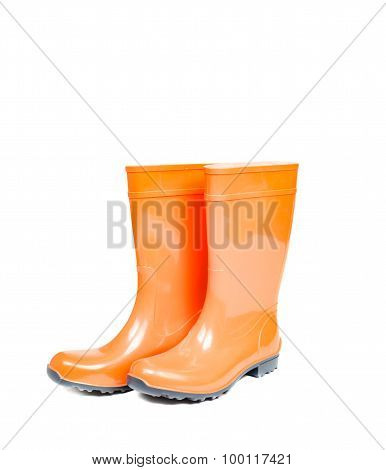 Orange Rubber Boots Isolated On White