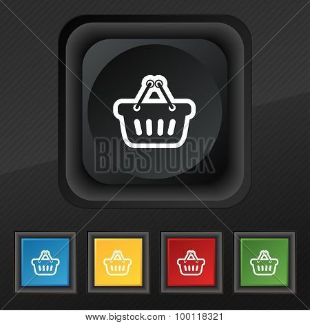 Shopping Cart Icon Symbol. Set Of Five Colorful, Stylish Buttons On Black Texture For Your Design. V