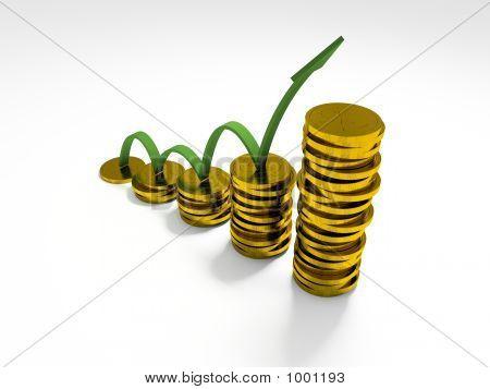 Gráfico de negocios con 3D flecha mostrando beneficios y ganancias