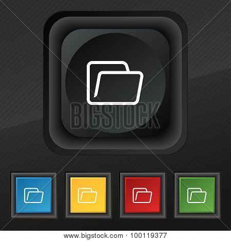 Folder Icon Symbol. Set Of Five Colorful, Stylish Buttons On Black Texture For Your Design. Vector