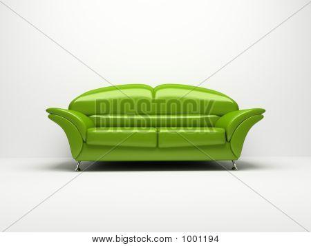 Sofá verde aislado sobre fondo blanco 3D